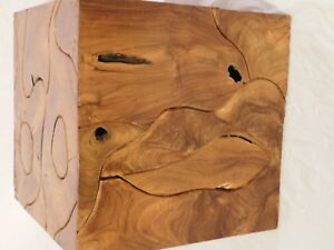 Rare Mid Century Modern Retro Baughman Burl Wood End Table Stand Block Ooak Old