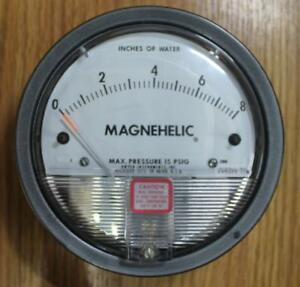 Dwyer Magnehelic Pressure Gauge 0 To 8 In H2o 15 Psig Max Model 2008