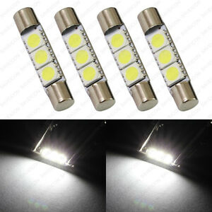 4 X White 28mm 3smd T6 6641 Led Bulbs Sun Visor Vanity Mirror Fuse Lights Tool
