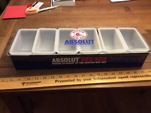 Red Sox Absolut Garnish Tray 6 Compartments Bar Man Cave Condiment Caddy