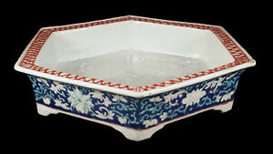 Antique Chinese Blue Famille Verte Enameled Porcelain Six Sided Footed Low Bowl