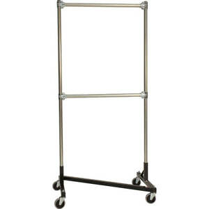 Z rack Heavy Duty Clothes Rack 36 L X 72 Uprights Double Rail Black 233722