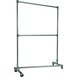 Z rack Heavy Duty Clothes Rack 60 L X 84 Uprights Double Rail Silver 260842s