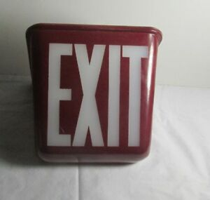 Vintage Antique Triangle Red Glass Exit Sign lighted Fixture Perfeclite