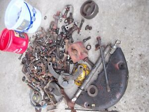 Farmall H B C Tractor Ih Box Of Misc Bolts Nuts Parts Pieces Starter Button