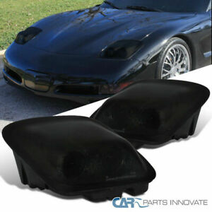 Chevy 97 04 Corvette C5 Smoke Lens Projector Headlights Tinted Head Lights Lamps