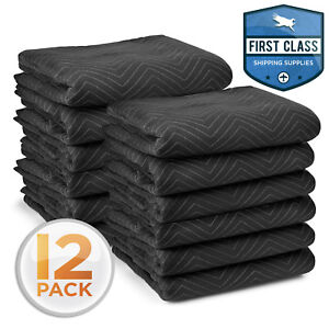 Moving Blankets 80 X 72 Pro Economy 12 Pack Black Shipping Furniture Pads