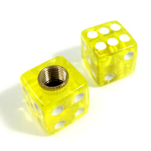 2 Premium Clear Yellow Dice Tire Wheel Air Stem Valve Caps For Motorcycle Bike