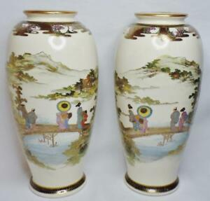 Pair 2 Antique Japanese Meiji Satsuma Shimazu Signed Landscape Figures 10 Vases