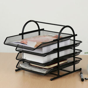 Desktop Document Box Black Tray Organizer Steel Mesh 4 tier Shelf File Box