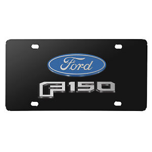 Ford F150 2015 Up 3d Dual Logo Black Stainless Steel License Plate