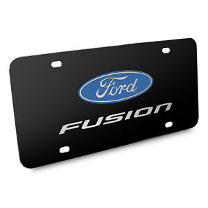 Ford Fusion 3d Dual Logo Black Stainless Steel License Plate