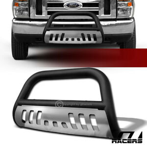 Matte Blk Bull Bar Push Grill Grille Guard Ss Skid 2008 2014 Ford E150 E250 E350