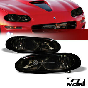 For 1998 2002 Chevy Camaro Oe Style Smoke Clear Housing Headlights Lamps Pair Nb