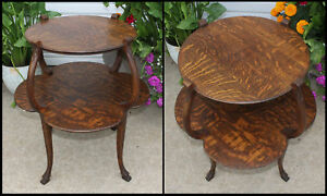 Antique Quarter Sawn Oak 2 Tier Centerpiece Accent Table Little Carved Claw Feet