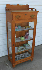 Antique Solid Quartersawn Golden Oak China Display Cabinet W Drawer Carving Keys