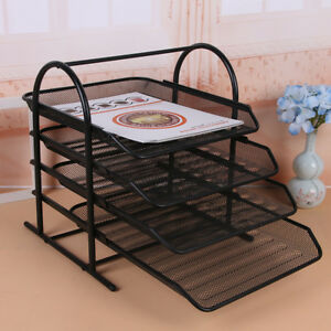 Efficient Folder Black Desktop File Box Tray Organizer 4 tier Shelf Steel Mesh