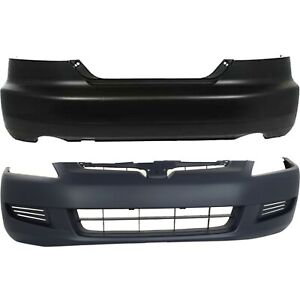 Front Rear Bumper Cover Set For 2003 2005 Honda Accord 6cyl Coupe Primed 2pc