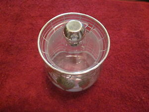 Antique Art Deco Sterling Silver Overlay Glass Strawberry Jam Jar W Lid