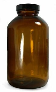 Qorpak Glc 02193 Amber Glass Wide Mouth Packer Bottle With 38 400 Black Pheno