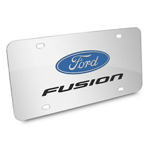 Ford Fusion 3d Dual Logo Mirror Chrome Stainless Steel License Plate