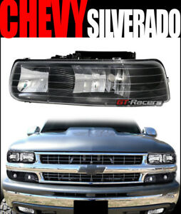 For 99 02 Chevy Silverado 00 06 Tahoe Suburban Black Housing Headlights Pair Dy