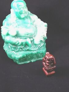 Small Red Chinese Carved Wooden Figurine Netsuke Foo Dog On Pedestal
