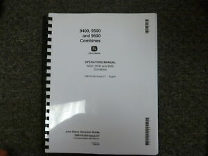 John Deere 9400 9500 9600 Combine Owner Operator Maintenance Manual Omh161694