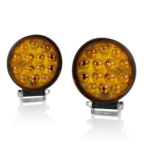 2pc 4 42w Round Cree 5d Spot Led Work Light Amber Offroad Fog Pod Lamps