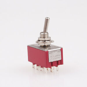 1x 12 pin Mini Toggle Switch 4pdt 2 Position On on 6a 125v 2a 250v Ac Mts 402