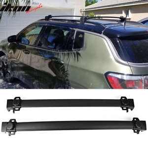 Fits 18 20 Jeep Compass Factory Style Top Roof Rack Cross Bar Pair Black