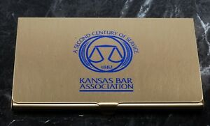 Rare Vintage Kansas Bar Association Gold Tone Business Card Holder Case Nos