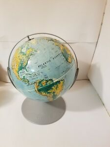 Vintage Nystrom Dual Rotating Axis World Globe 12 High Raised Relief Medal Base