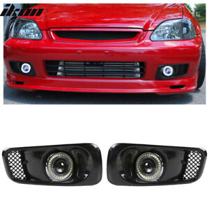 Fits 99 00 Honda Civic White Led Halo Drl Projector Fog Lights Lamps