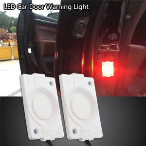 2x Red 12v Led Warning Car Door Flashing Light Emergency Warning Lamp Waterproof