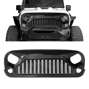 Fit 07 18 Jeep Wrangler Jk Grill Gladiator Vader Grille Matte Black Abs 1pc