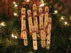 Gathering 9 Pencil Snowmen Star Christmas Winter Primitive Wood Ornies Ornament