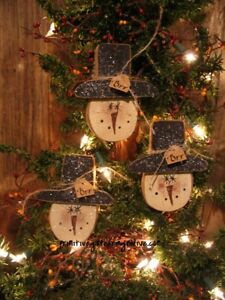 5 Primitive Winter Snowman Brr Sign Tag Glittered Wood Christmas Ornie Ornament