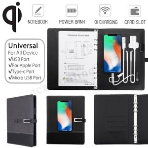 A5 Portfolio Business Conference Leather Notebook Notepad Power Bank Charger