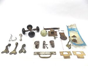 Antique Hardware Lot Door Knobs Truck Latches Window Latches And More