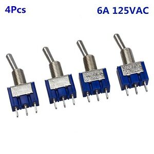 4pcs Blue Ac 125v 6a 3 Pin Spdt On off on 3 Position Mini Toggle Switch