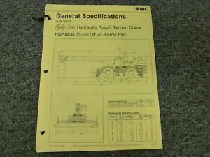 Link Belt Hsp 8035 Rough Terrain Crane Specification Lifting Capacities Manual