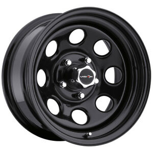4 Vision 85 Soft 8 16x8 5x5 12mm Gloss Black Wheels Rims With Caps