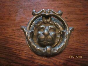 Antique Victorian Exterior Lion Door Knocker W Striker Warm Weathered Patina