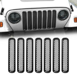 7pc Grille Inserts Mattle Black Grill Guards Mesh For Jeep Wrangler Tj 97 06