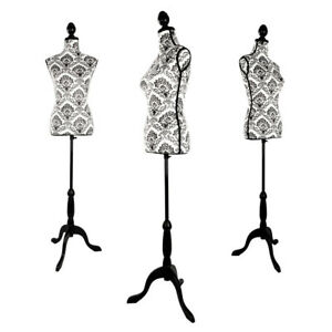 Female Mannequin Torso Body Dress Form With Adjustable Black Tripod Stand Flower