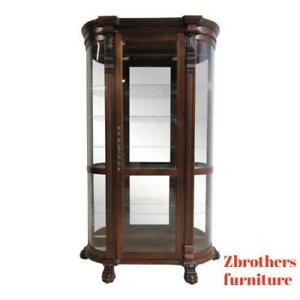 Cherry Pulaski Paw Foot Carved Bow Glass Curio Cabinet China Hutch Display