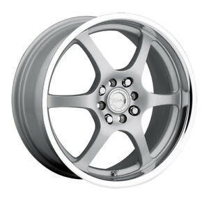 4 new 15 Inch Raceline 126 15x7 4x100 4x108 40mm Silver Wheels Rims
