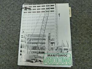 Manitowoc 4100w Tower Crane Specifications Lifting Capacities Manual