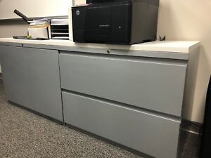 Storage Cabinet Metal 2 Drawers 2 Doors